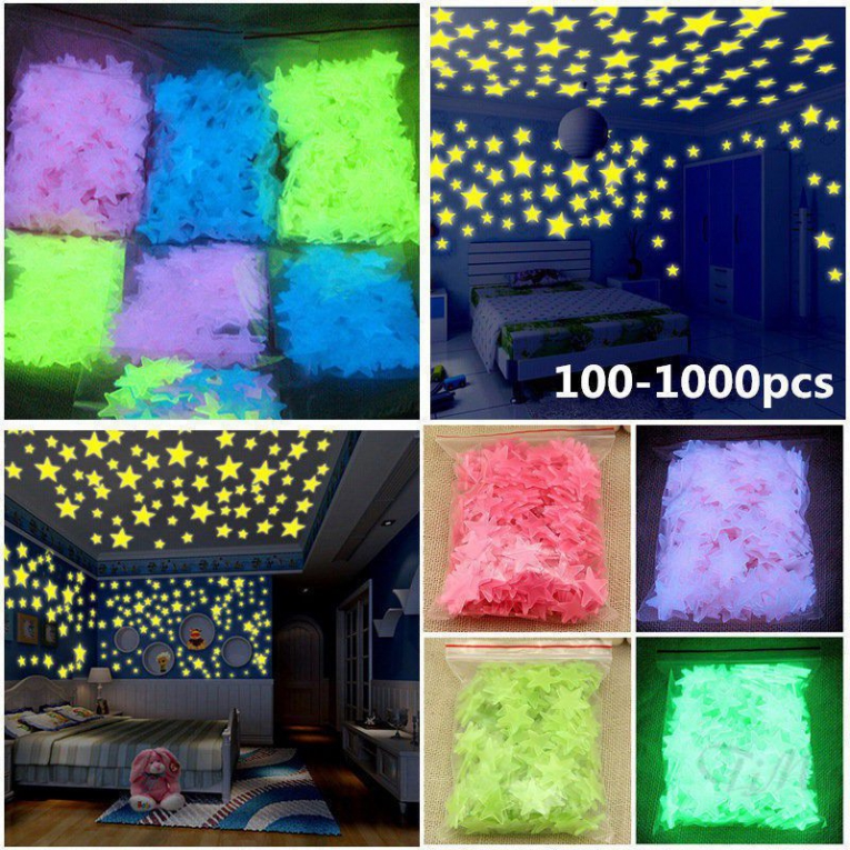 Fluorescent Glow In The Dark Stars Ceiling Wall Art Luminous Star 4.6cm K/&M