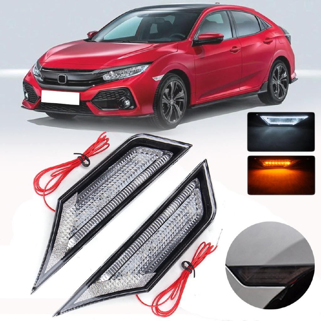 Smoked Front LED Side Marker Lamp Light  for 2016-2019 Honda Civic w// LED BULB