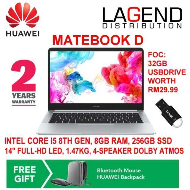 ORIGINAL HUAWEI MATEBOOK D (INTEL i5 8th gen, 8GB RAM,256GB SSD,14