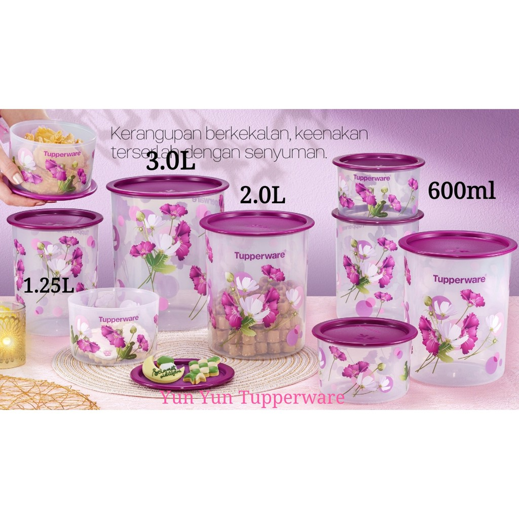 🔥READY STOCK🔥Tupperware Royale Bloom One Touch - 600ml / 1.25L / 2.0L / 3.0L