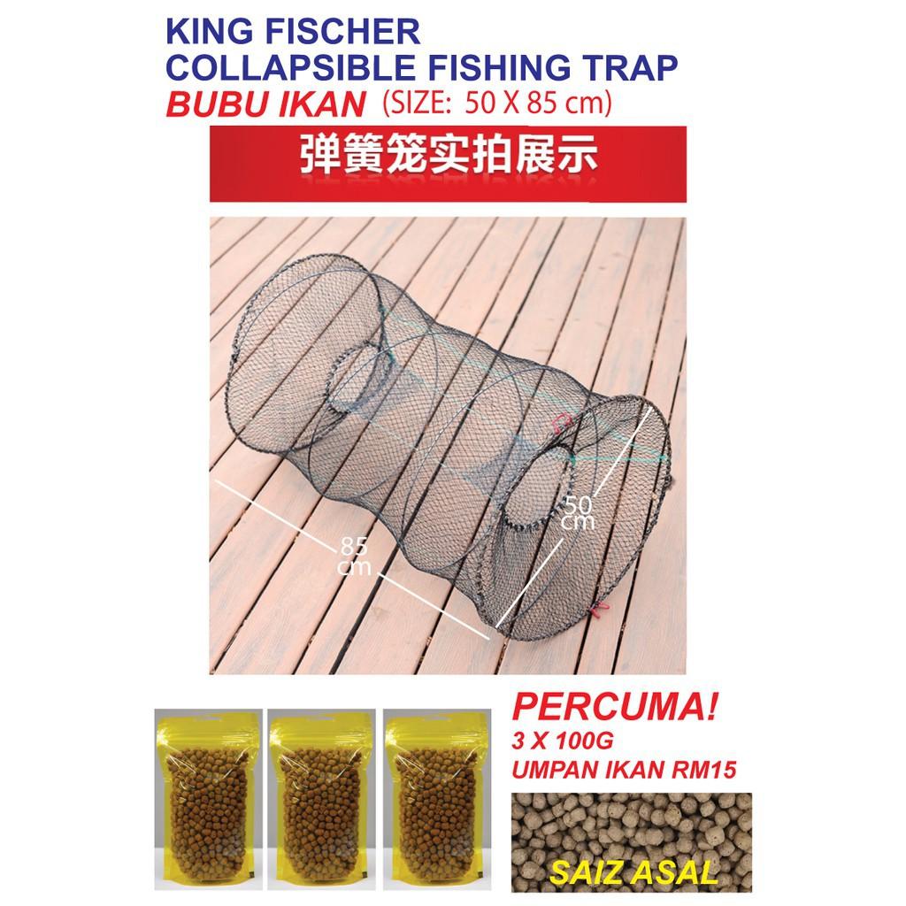 (FREE GIFT)KING FISCHER Large Fishing Trap (50 x 85 CM)   BELI BUBU IKAN FREE 3 X 100G UMPAN IKAN WORTH RM15