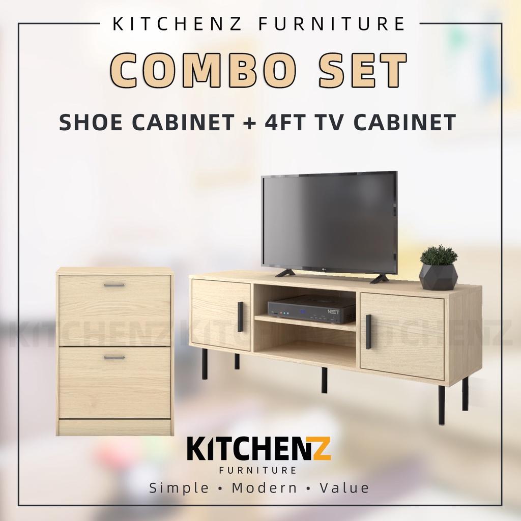 [COMBO] HomeZ 4FT TV Cabinet Solid Board Natural Oak + Premium Wooden Shoe Cabinet