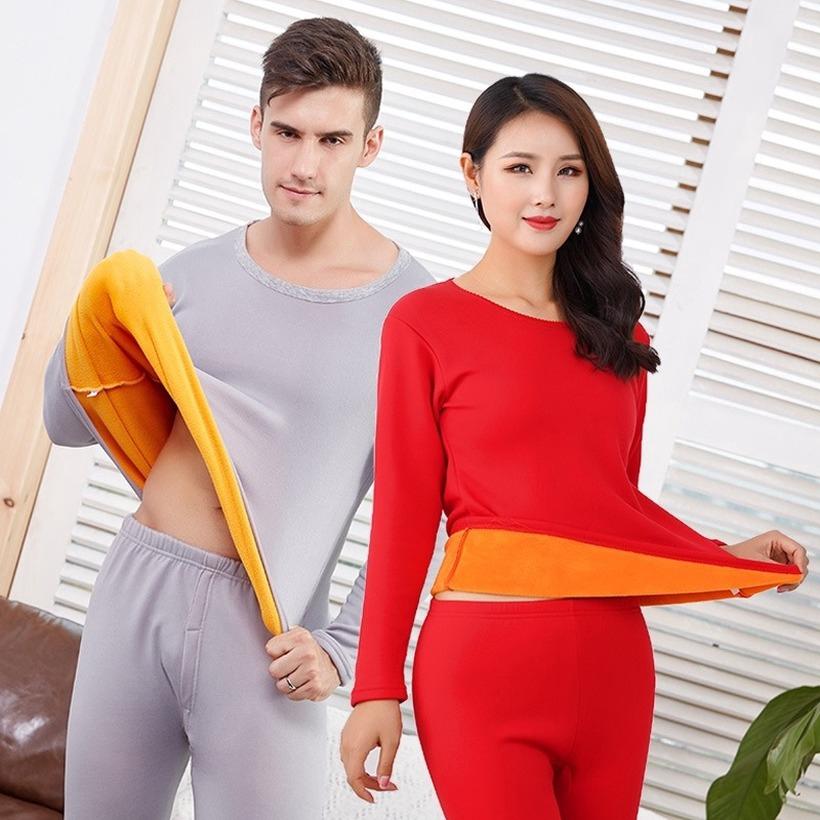 Mens Winter Warm Velvet Thick Inner Wear Thermal Underwear Long Johns Pajama Set