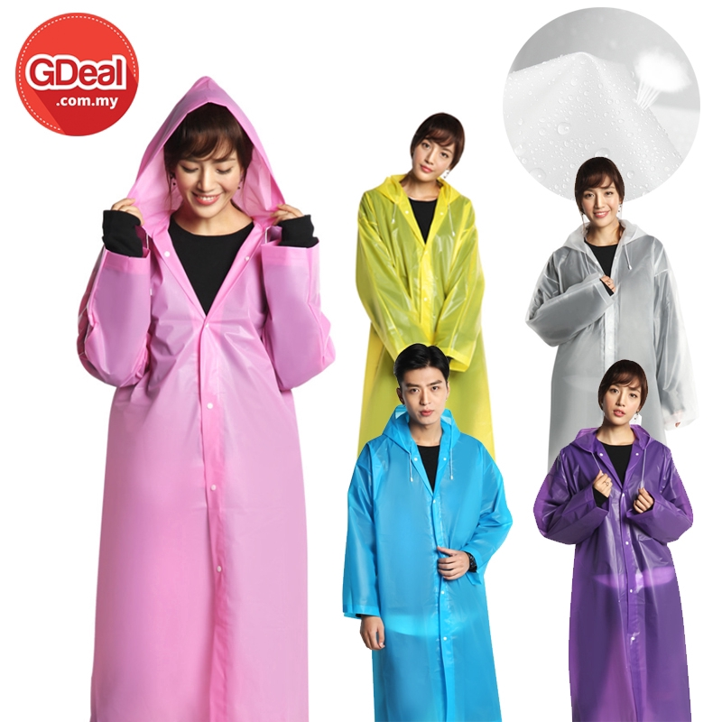 GDeal EVA Thick Reusable  Waterproof Rain Coat Portable Unisex Rain Coat Suitable for Outdoor and Travel