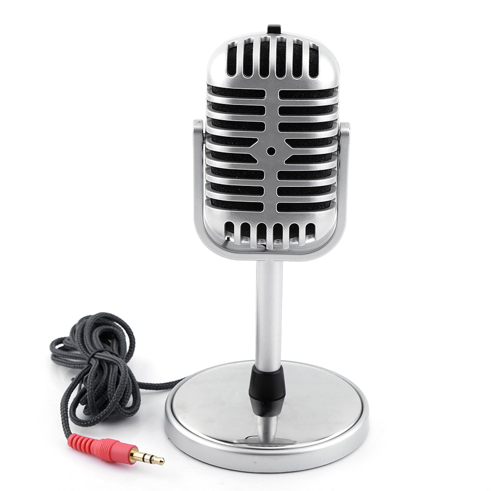 Classic Retro Style Dynamic Stereo Microphone Mic For Phone Computer Mini Smule Dengan Headset Jack 35 Shopee Malaysia