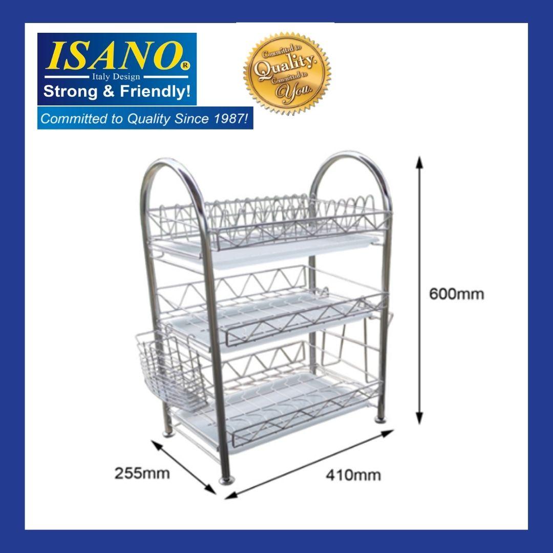 ISANO Stainless Steel Triple Layer Dish Rack 2003DR , Rak pinggan 3 layer / rak 3 tingkat