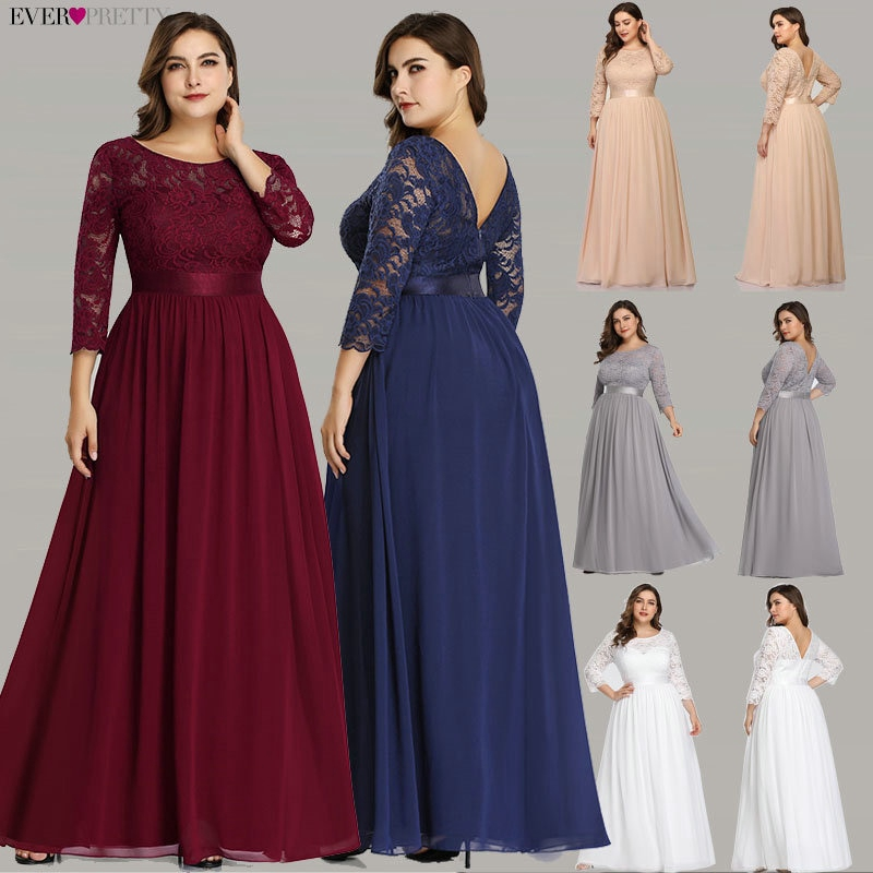 Womens Plus Size A Line Party Dress Casual Long Sleeve Round Neck Maxi Dresses