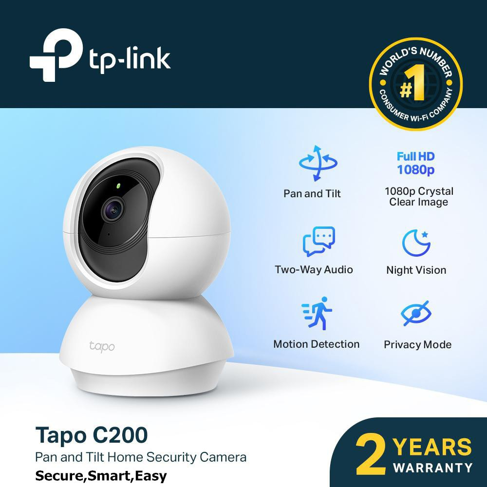 TP-Link Tapo C200 1080p HD smooth Pan Tilt IP Home Security Wireless wifi Camera night vision live view audio privacy