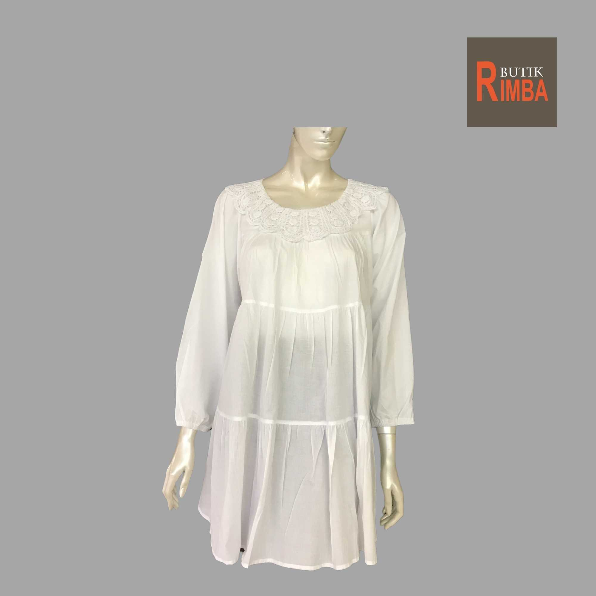 WOMEN CASUAL AND COMFORTABLE WHITE BLOUSE COTTON FREE SIZE PATTERN 23