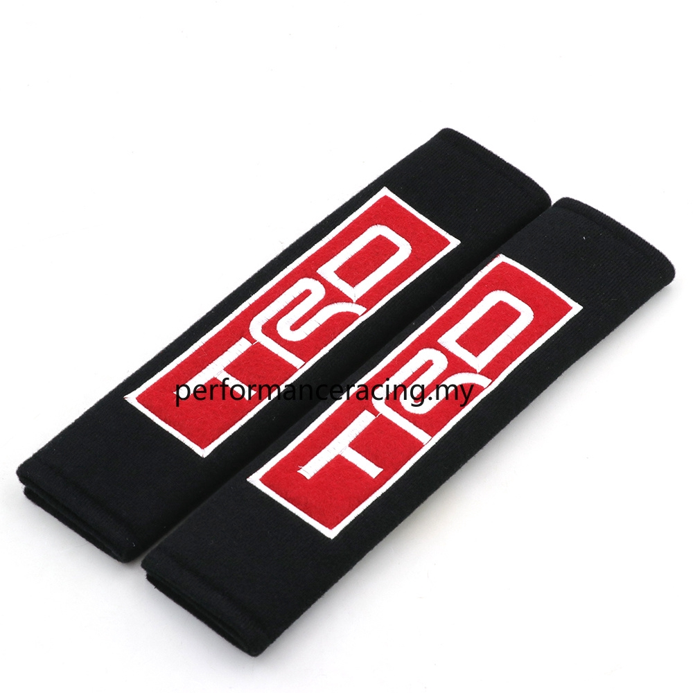 Racing Black Seat Belt Cover Shoulder Pads Pairs with Embroidery Illest JDM Logo