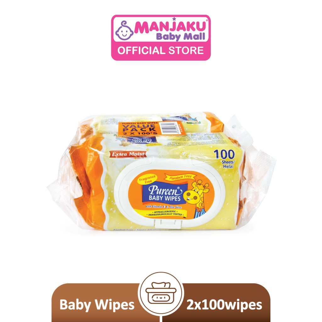 Pureen Baby Wipes - Fragrance Free (2 x 100's)