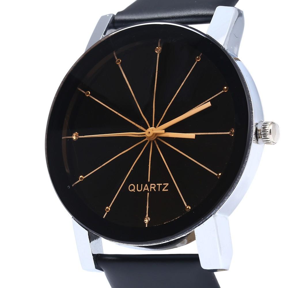 Men Quartz Watch Line Dial Leather Band