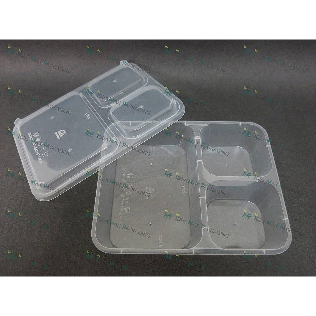 3 Compartment Microwavable Container