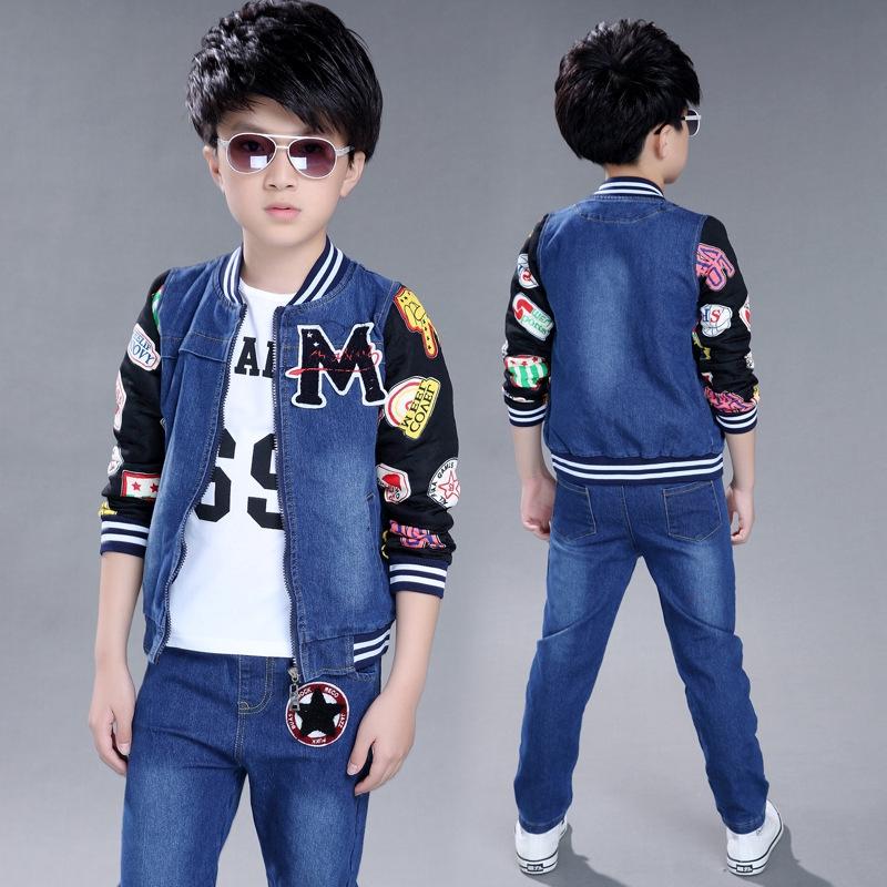 c7ae48fc Children's Spring Denim Jacket + T-shirt + Jeans Sports 3 Set