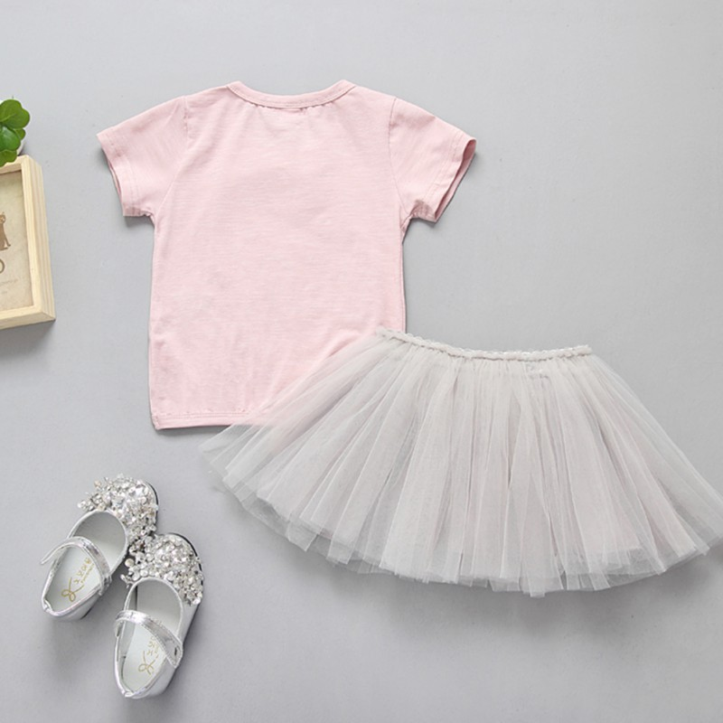 Girl Clothes Cute Pink Fashion Irregular Tops Long Pants Baby Flower Prints Set