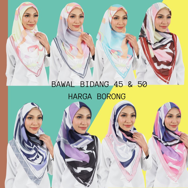 Tudung Bawal Harga Borong Tudung Bawal Printed Bidang 50 45 Shopee Malaysia