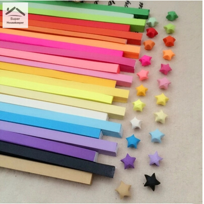 100pcs Lucky Star Folding Paper Strips Ribbons Origami Craft DIY Handmad Gift