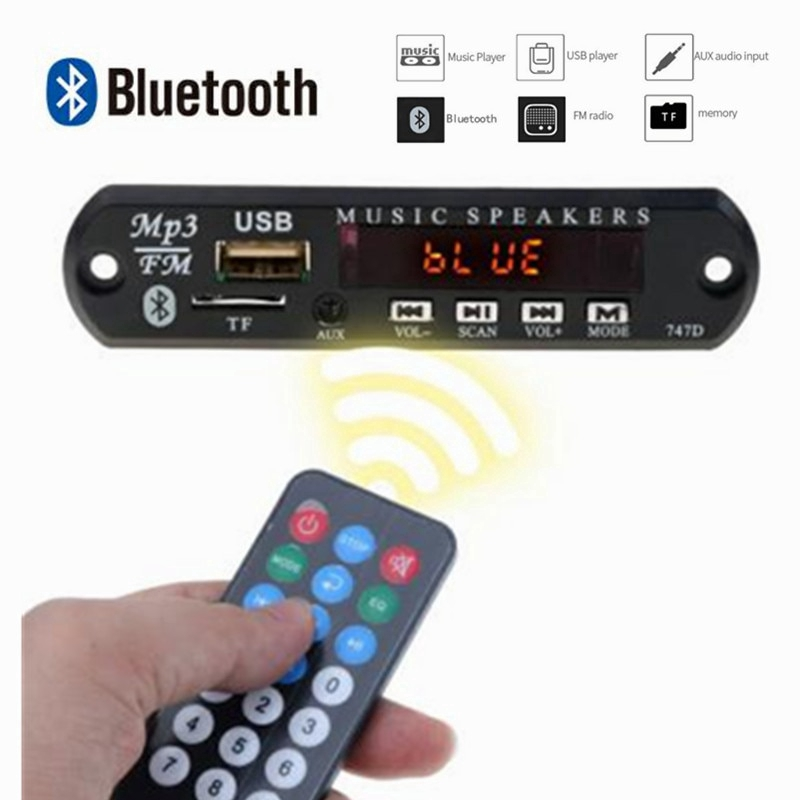 Wireless Bluetooth 12V MP3 WMA Decoder Board Audio Module MP3 Player USB TF  Radio