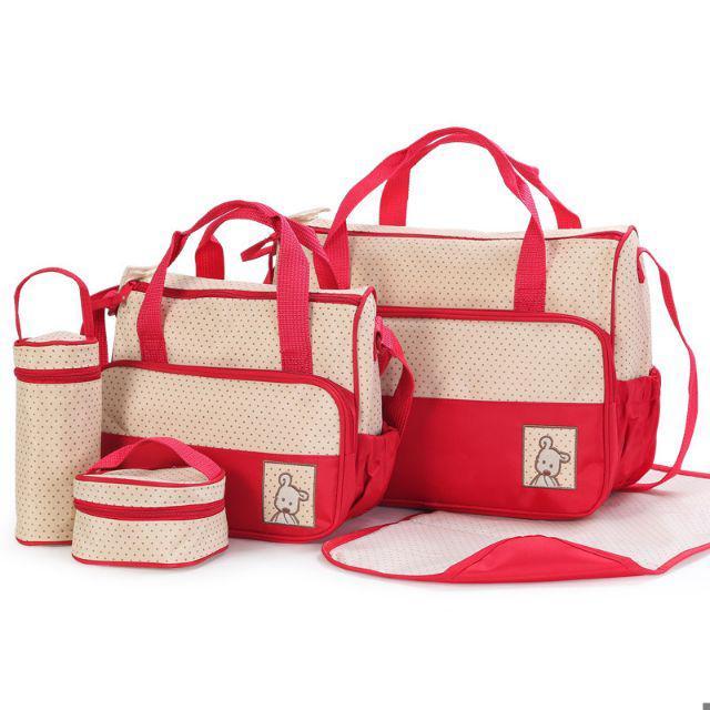 [ READY STOCK ]  5 pcs High Quality Tote Shoulder Diaper Multifunction Bag Mum Baby Kid Bag Jualan Murah Travel Budak Beg