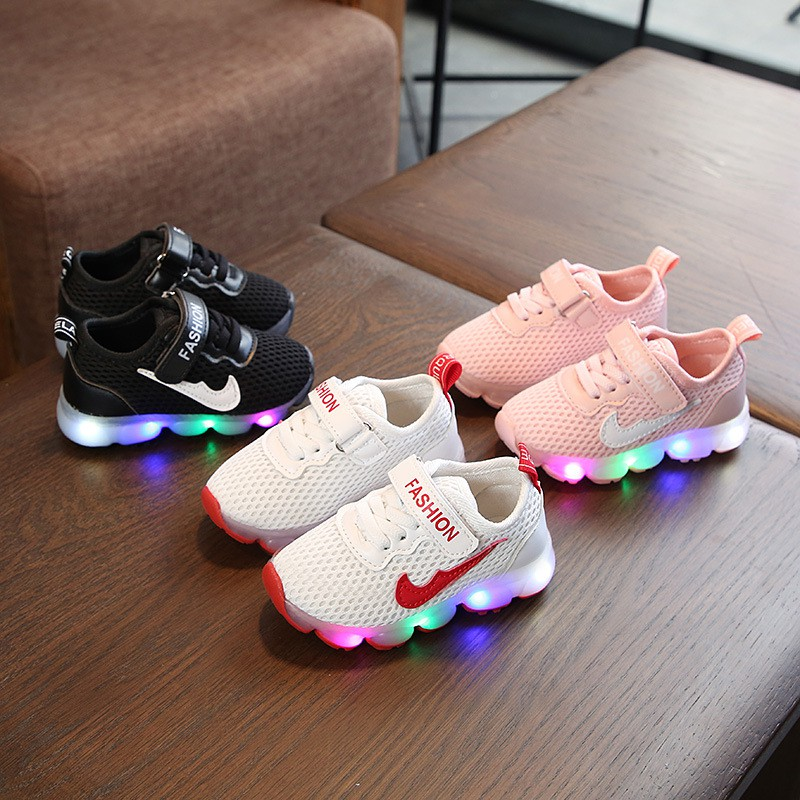 2019 Led Light Kids Shoes Net Sport Shoes Nike Sneakers Boys Girls Shoes