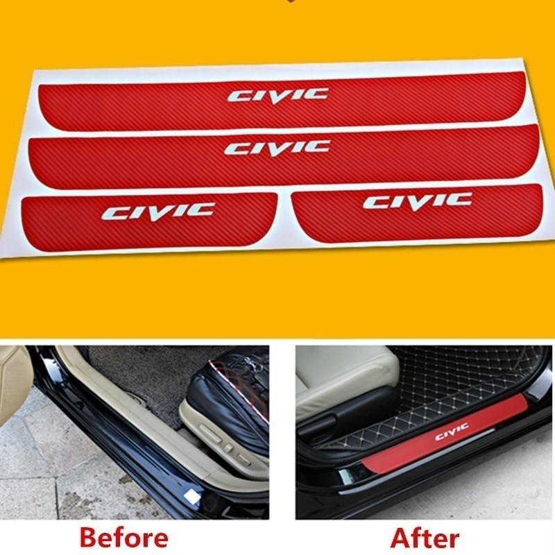 BLACK/&RED Car Door Threshold Plate Carbon Fiber Scuff Sticker Door Sill Sticker For Honda Civic