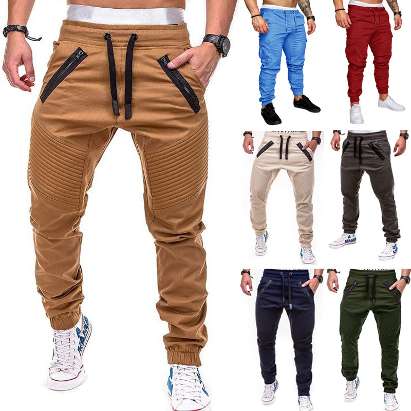 Men Joggers Sweatpants Casual Pants With Cuffs Solid Thin Male Pantalones Hombre Long Trousers Mens Sportswear Harem Chinos Shopee Malaysia