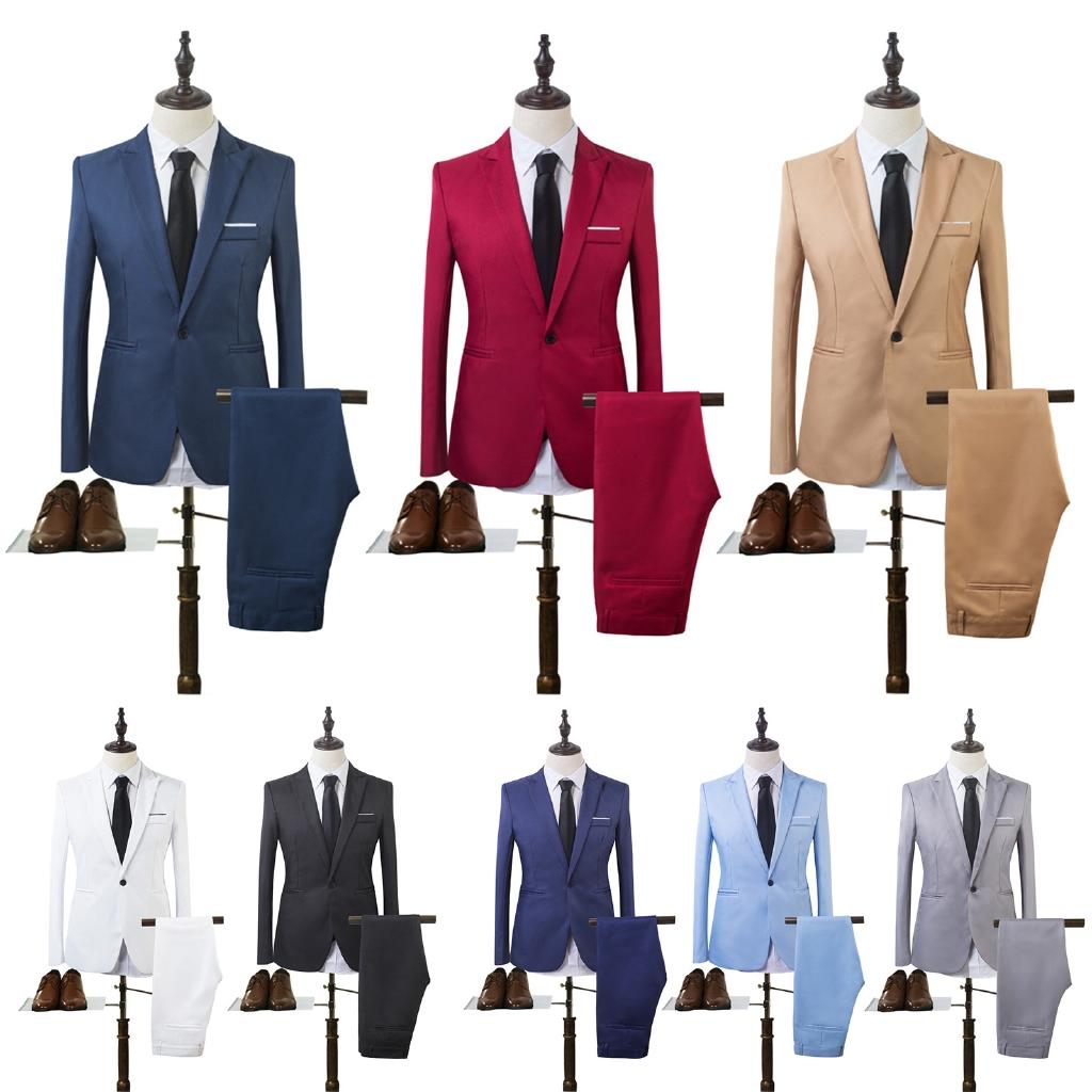 Mens Formal Suit Blazer Coat Business Dress Wedding One Button Slim Fit Jacket