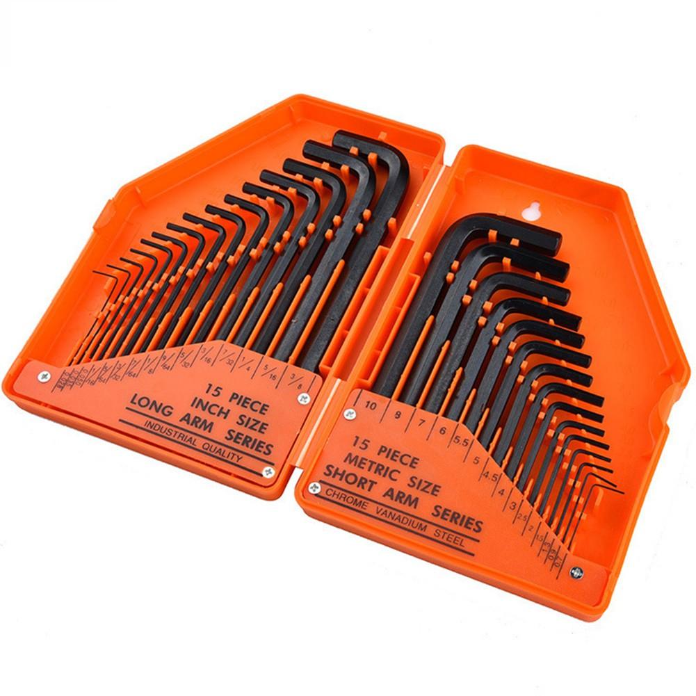 Cycling Tools 30pcs/set Inch/Metric Hexagon Socket Key Set Wrench Industrial Grade Tool