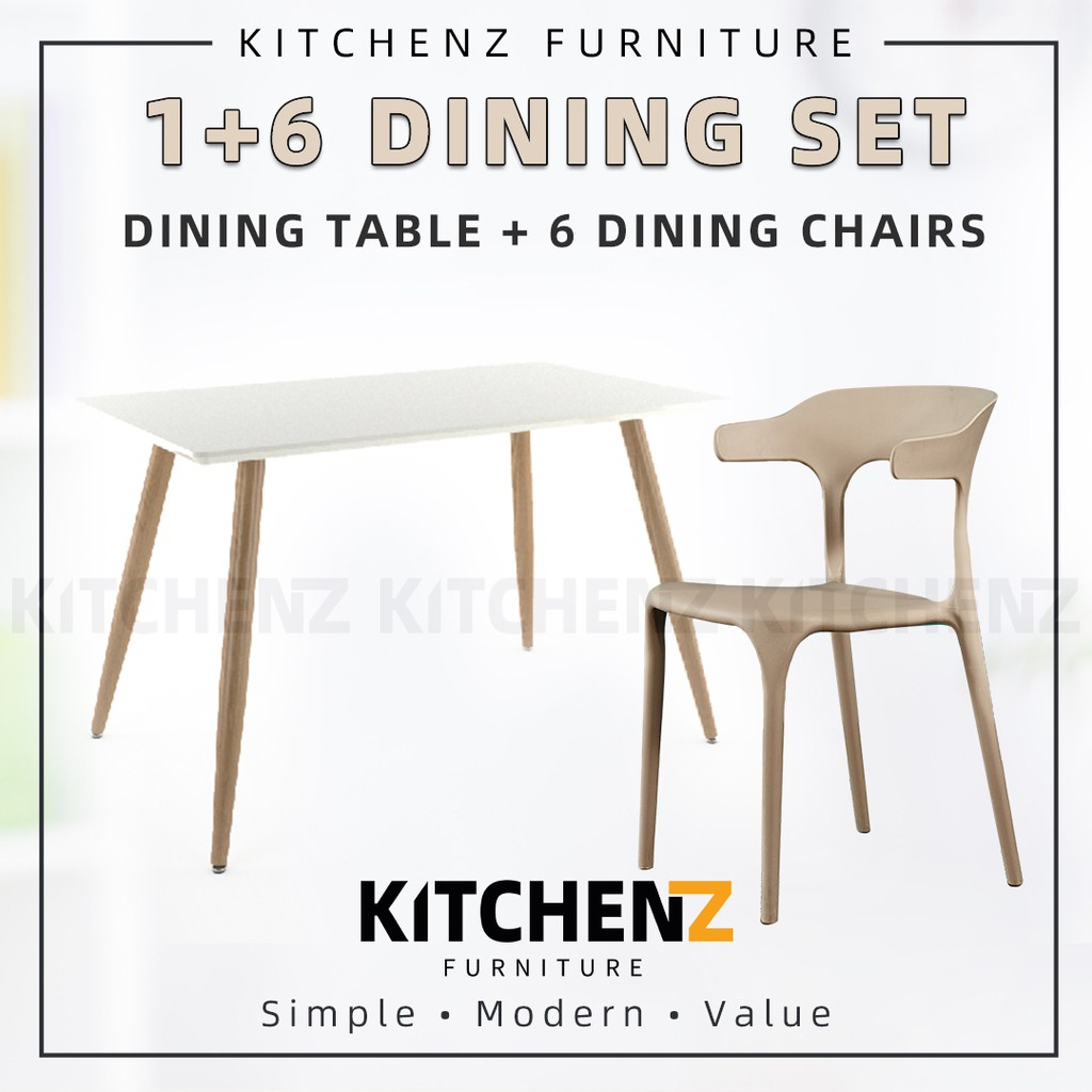 KitchenZ Dining Table Set 1 Table / White + 6 Dinning Chair with Comfort Arm Rest & Back Rest / Khaki