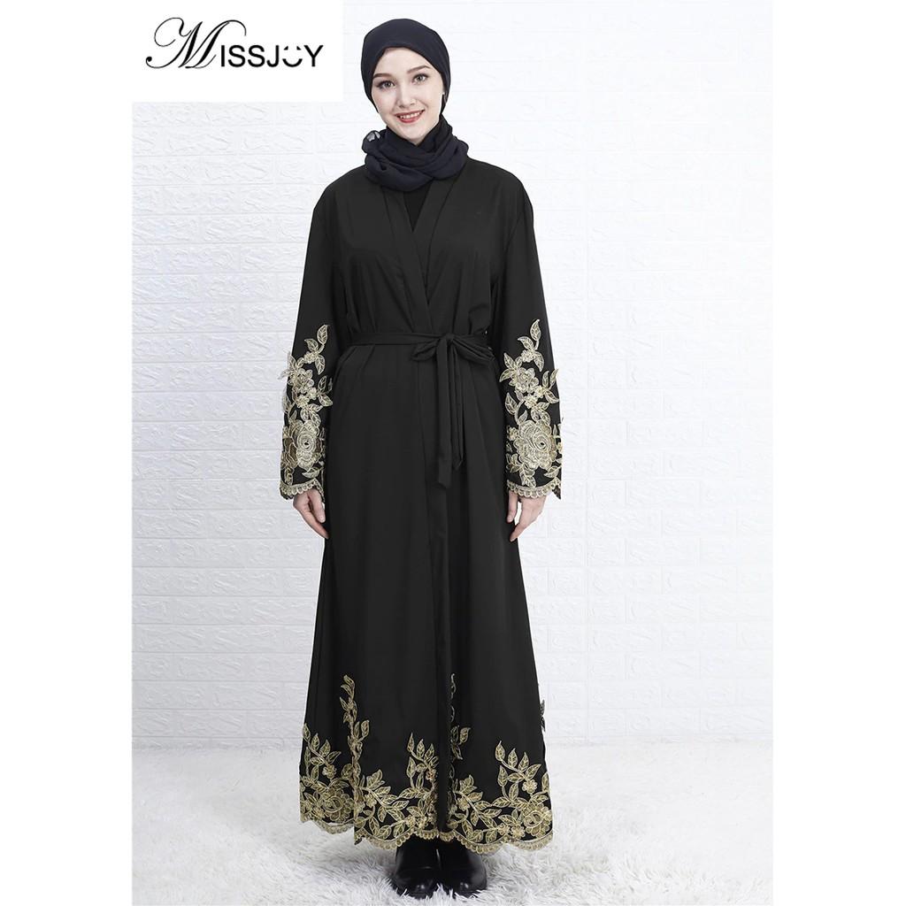 bf3adcb889d47 MISSJOY Dubai Kaftan Muslim Dress Women New Style Party High-Grade Gold  Embroidered Lace Turkey Islam Cardigan Robe Abay