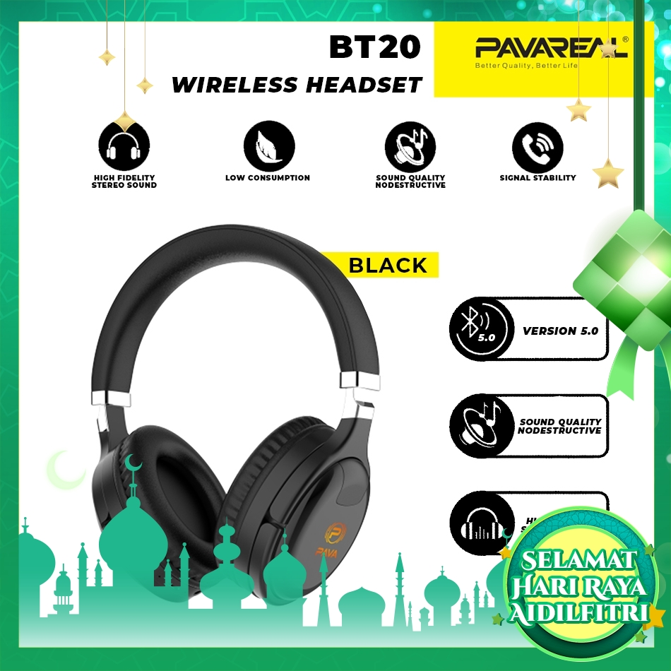 PAVAREAL PA-BT20 HQ PU Foldable V5.0 Bluetooth Wireless Headset Noise Reduction HD Stereo Subwoofer for Music Gaming