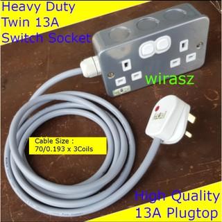 15m Extension Lead Reel 13A 15 Metre Heavy Duty 4 Sockets Way 1.25mm Cable