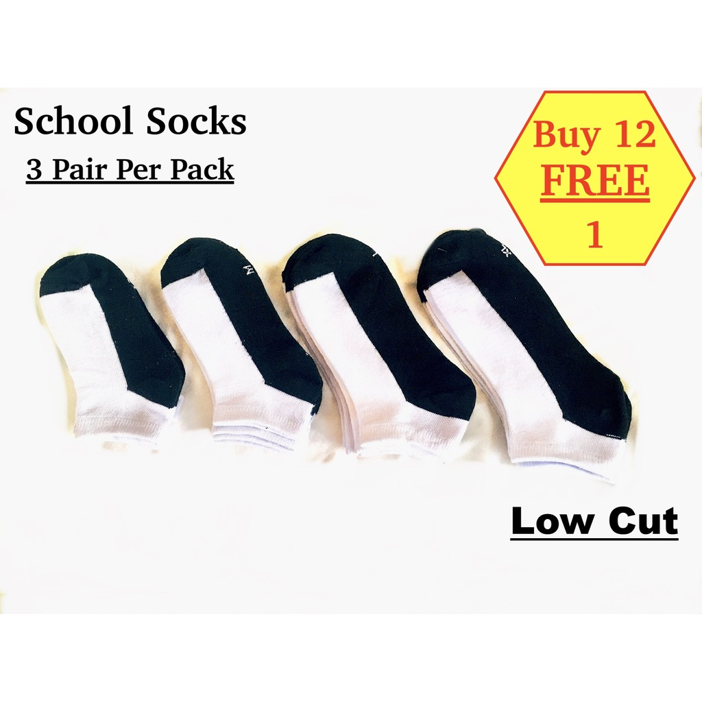 Student Socks Low Cut Polyester White And Black 3 pairs / pack (Buy 12 Free 1)