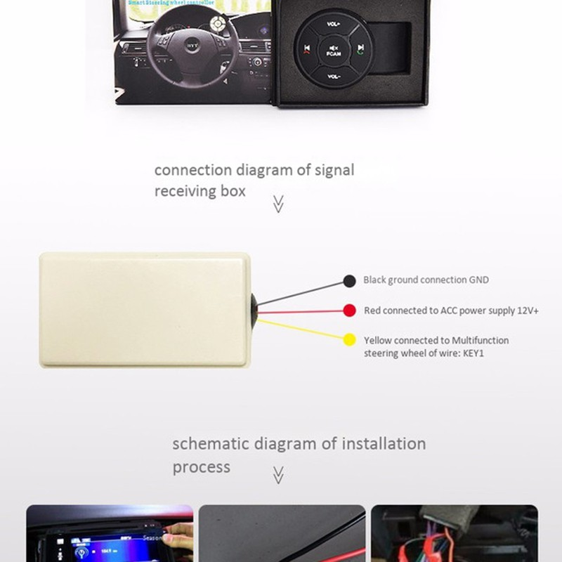 Universal Car Steering Wheel Control Key Music Wireless DVD GPS Navigation on