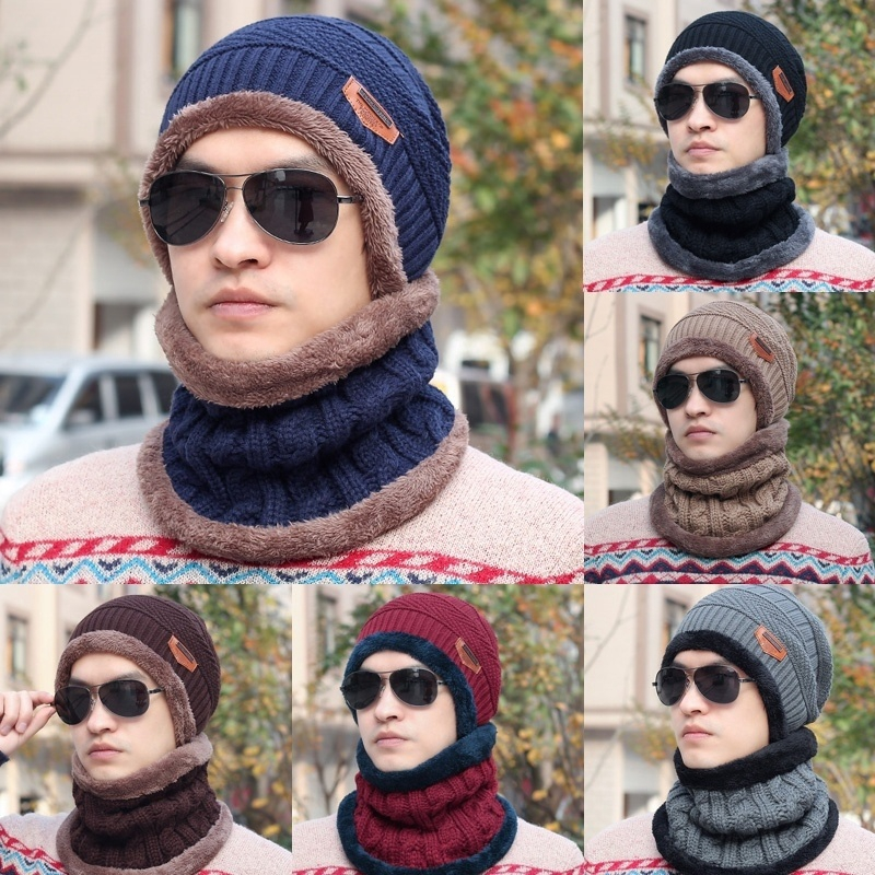 f2511331a50c6a Winter Men's and Women's Crochet Loose Wool Cap Warm Ski Hat and Scarf Set  | Shopee Malaysia