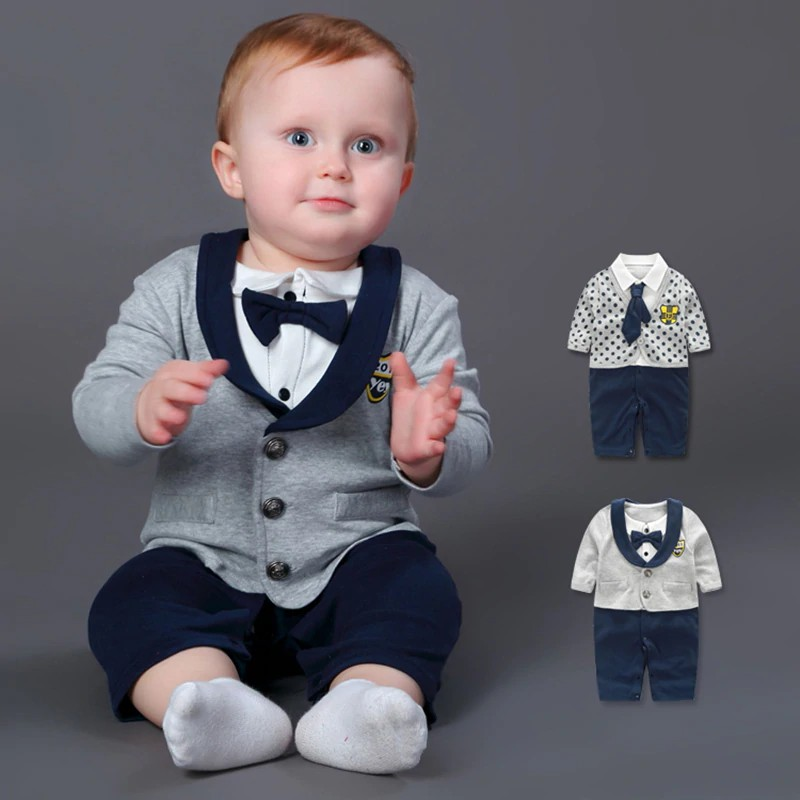 accfd79ae24ee FREE SHIP ! Baby Rompers 100% Cotton Bow Tie Gentleman Suit Boys Leisure  Clothing Sets Roupa Bebes