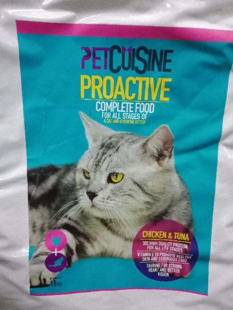 PETCUISINE PROACTIVE COMPLETE FOOD FOR CAT & KITTEN (CHICKEN&TUNA) 18KG