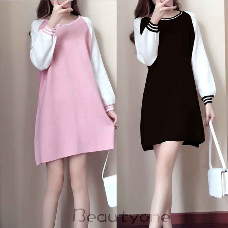 478a9c6a85906 Women Loose Solid Color A Line Long Sleeves Slim Fit Party Dress