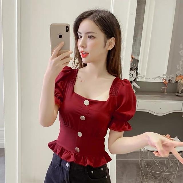 [S~XL]Korean square collar chiffon top 夏装新款韩版方领露背短款一字肩雪纺上衣女收腰显瘦短袖衬衫