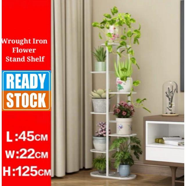 [ READY STOCK ]  Wrought Iron Flower Stand Shelf Room Ferabut Steel Rack Bunga Furniture Simpanan Storage Jualan Murah
