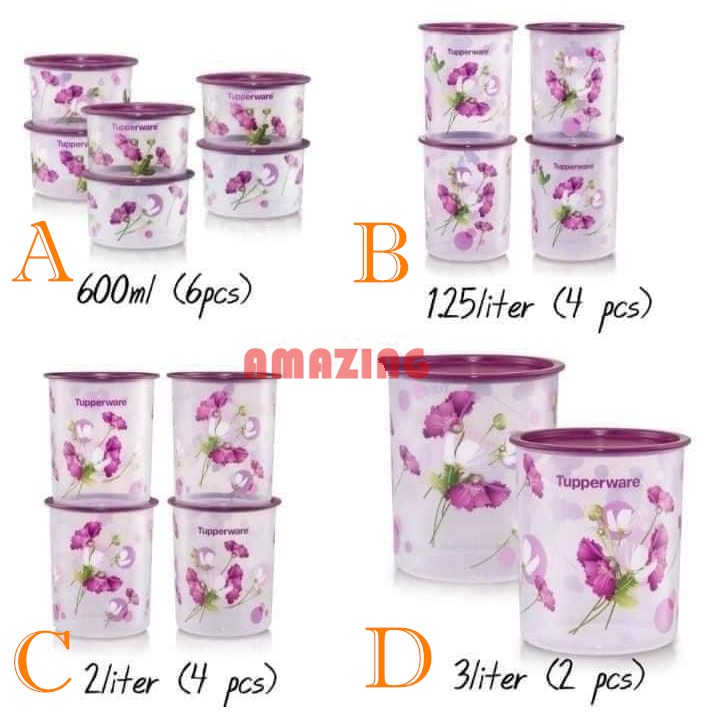 Tupperware  Royale Bloom One Touch Canister (2pc/4pc/6pc)