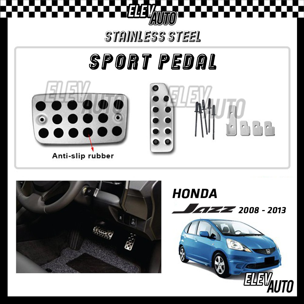 Honda Jazz 2008-2013 Stainless Steel Sport Pedal with Anti-slip Rubber