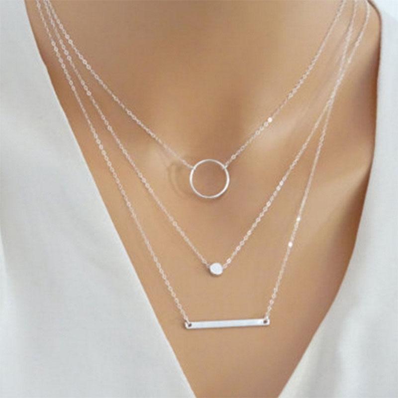 Women Alloy Choker Multi-layer Collar Chain Necklace Fashion Jewelry Charm Gift
