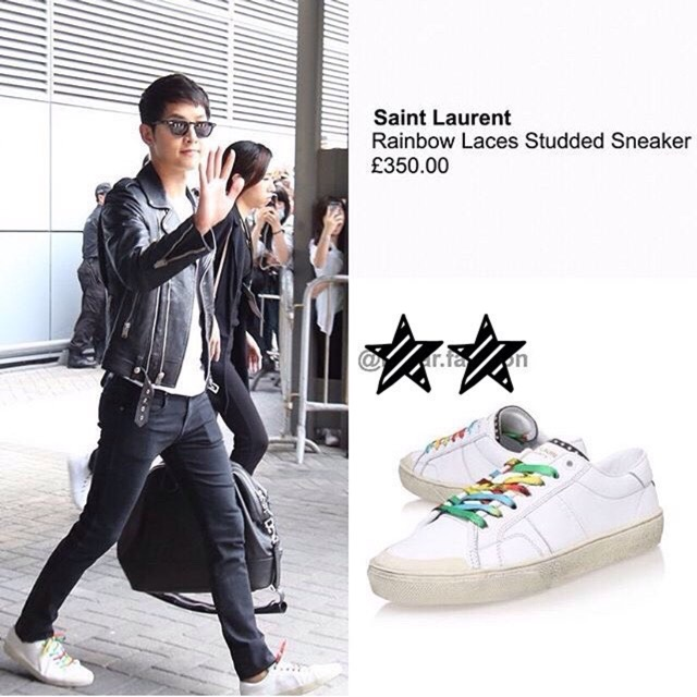 Saint Laurent Low White Sneakers with rainbow laces | Saint