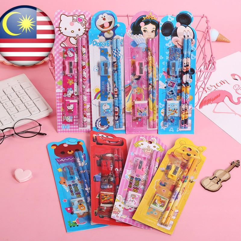 [ READY STOCK ]  Cute Cartoon Stationery Set 5 in 1 Kindergarten Student Pensil Budak Mainan Kid Baby Toy Jualan Murah