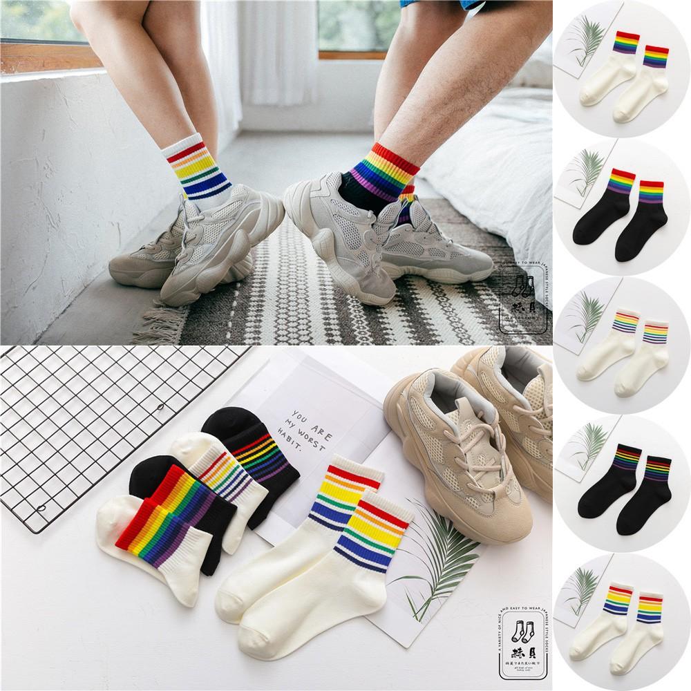 6d719dfe85bd6 🔥READY STOCK🔥 New Japanese Rainbow Bar Couples Socks All-cotton Rainbow  Socks
