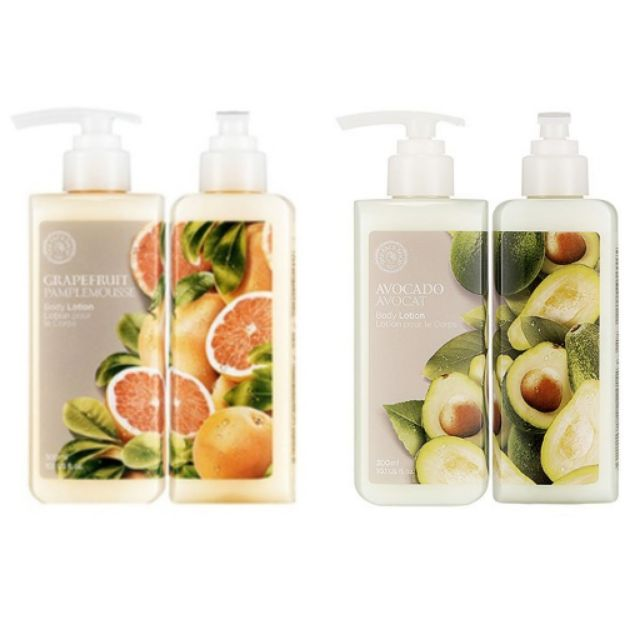 (Free Travel Lotion Bottle 50ml) Original The Face Shop Body Lotion Grapefruit Avocado Organic Korea Product 300ml
