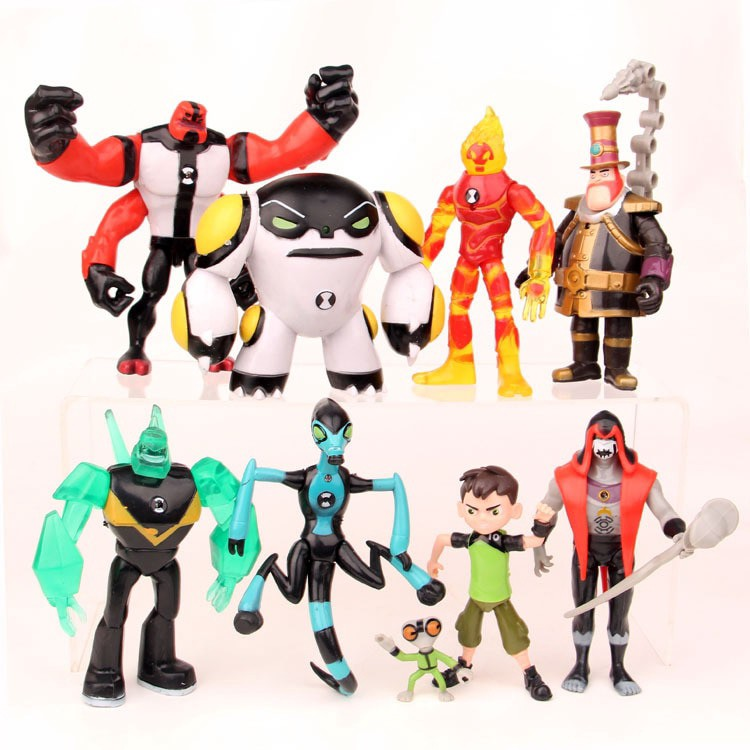 Lot 9 pcs Ben 10 Action Figure Play set Toy Cake Topper XLR8 Heatblast Four Arms