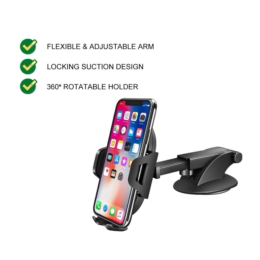 UGREEN Car Phone Mount Dashboard Car Holder Windshield Smartphone Cradle Strong Suction for iPhone 11 Pro Samsung LG