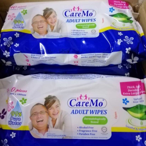 🔥STOCK ADA🔥4PACKS X 40s CAREMO🔥ALOE VERA ADULT WIPES PURE WATER EXTRA LARGE THICK COTTON SOFT